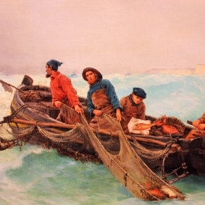 Fisherman hauling their nets- by Georges Jean Marie Haquette